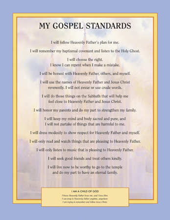 A poster with gospel standards for Primary children printed over an image of the Salt Lake Temple.