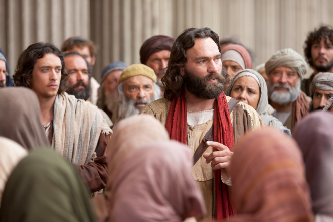Acts 3:12–26, 4:1–3, Peter preaches of Christ to listeners