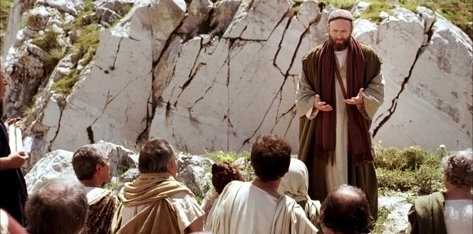 Acts 17:16–34, Paul stands in front of a group of Athenians