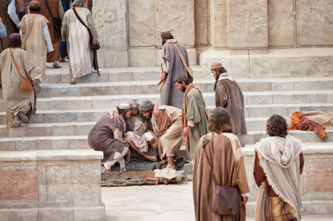 Acts 3:1–8, A crippled man is set on the steps of the temple