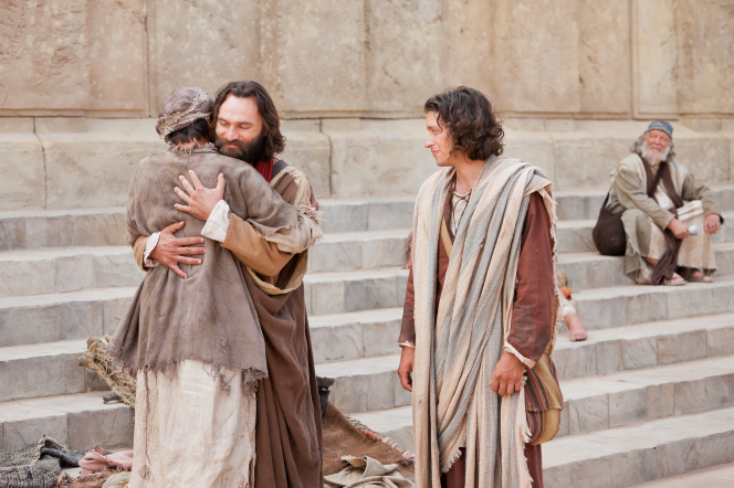 Acts 3:1–8, The crippled man is healed and embraces Peter