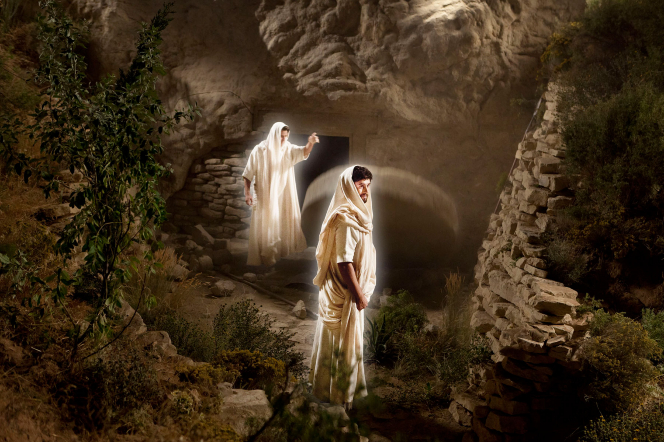 Matthew 27:57–60, Angels open the tomb where Jesus Christ lays