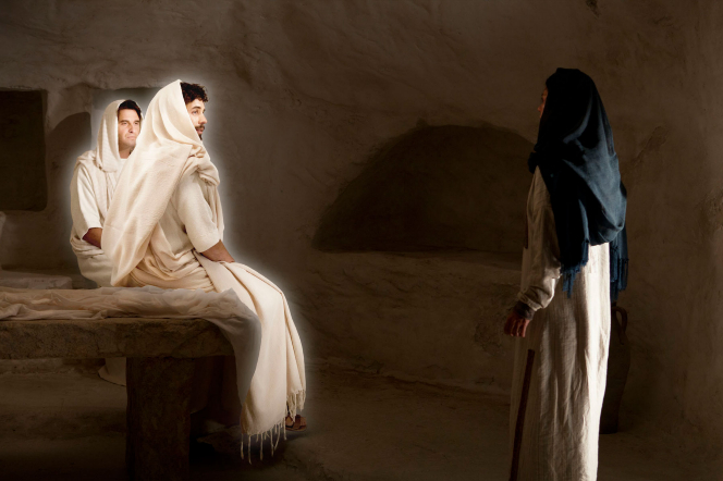 Matthew 27:57–60, Angels speak to Mary Magdalene as she searches for Jesus Christ