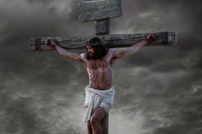 Matthew 27:26–50, Jesus Christ nailed on the cross