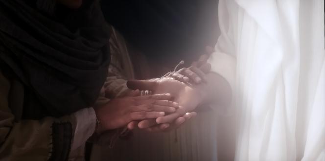 Luke 24:36–41, 44–49; John 20:21, People touch the resurrected Christ's hands