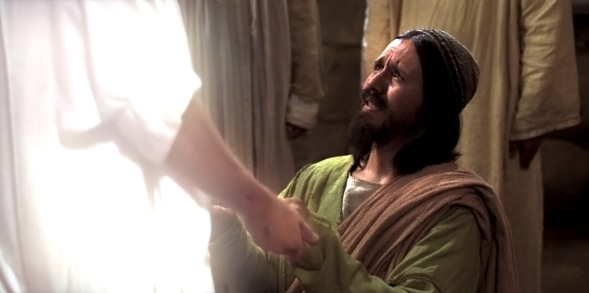 John 20:24–29, Thomas sees the resurrected Christ