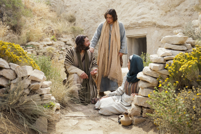 John 20:3–18, Peter and John speak with Mary Magdalene outside the tomb
