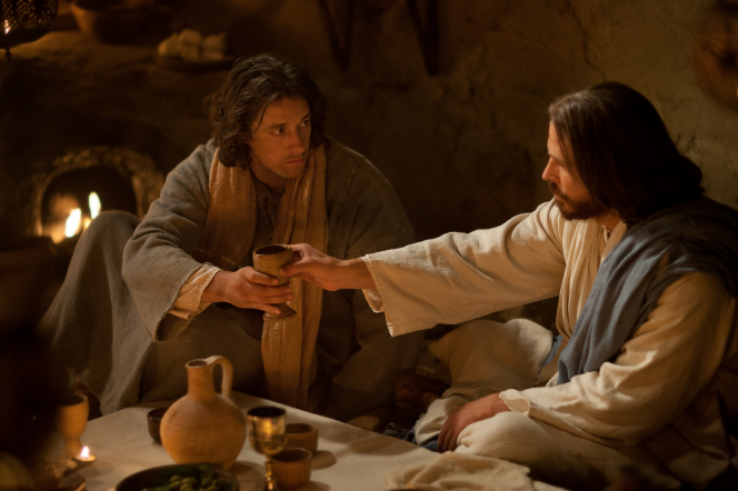 John 13:1–35, Jesus blesses wine and passes it