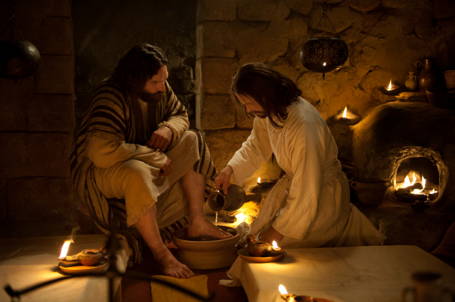 John 13:1–37, Jesus washes Peter's feet