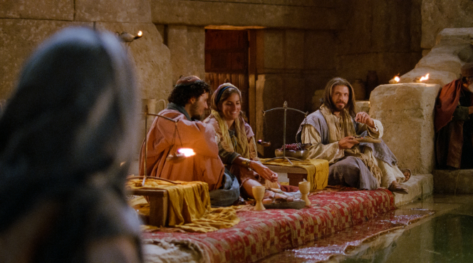 John 2:1–12, Jesus sits with others at the wedding festival
