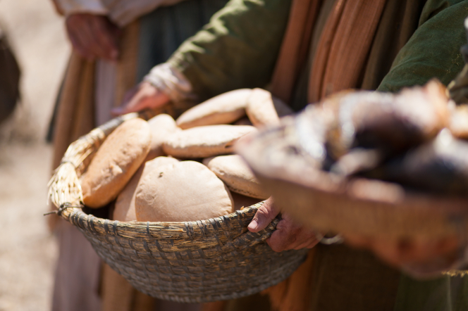 Matthew 14:13–21, The loaves of bread used to feed 5,000 people