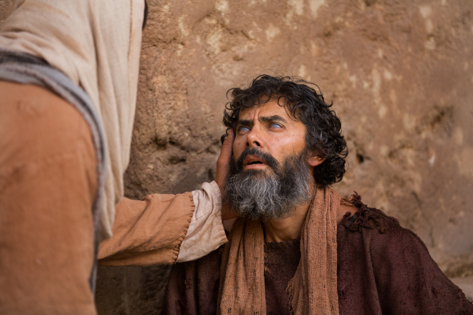 John 9:1–41, Christ speaks with a blind man on the street