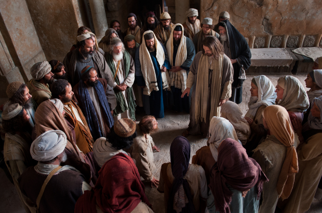 Luke 4:33–37, Witnesses watch as a man possessed speaks to Jesus