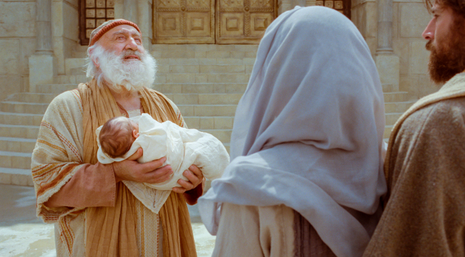 Luke 2:1–20, Christ as a baby is held by Simeon at the temple.
