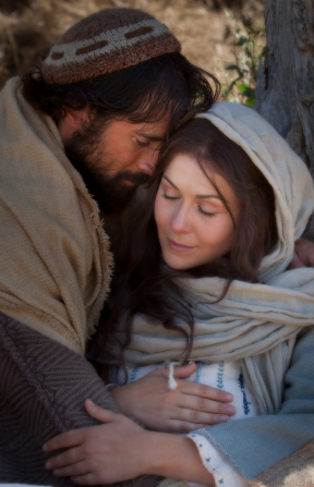 Luke 2:4–7, Mary and Joseph rest under a tree