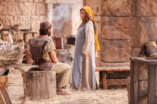 Matthew 1:18–27, Mary sitting and talking with Joseph