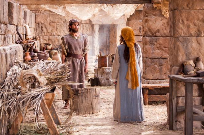 Mary talking with Joseph