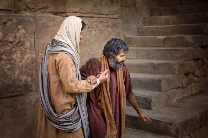 Christ standing near stone steps with a blind man, who is holding onto His arm.
