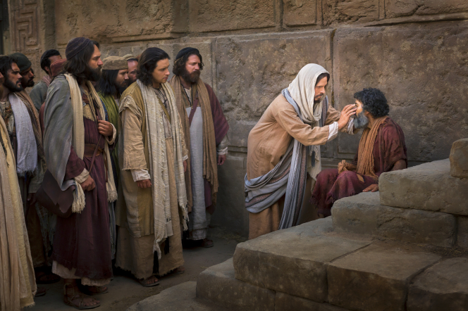 A group of men gather behind Christ as He heals a blind man, who is sitting on stone steps.