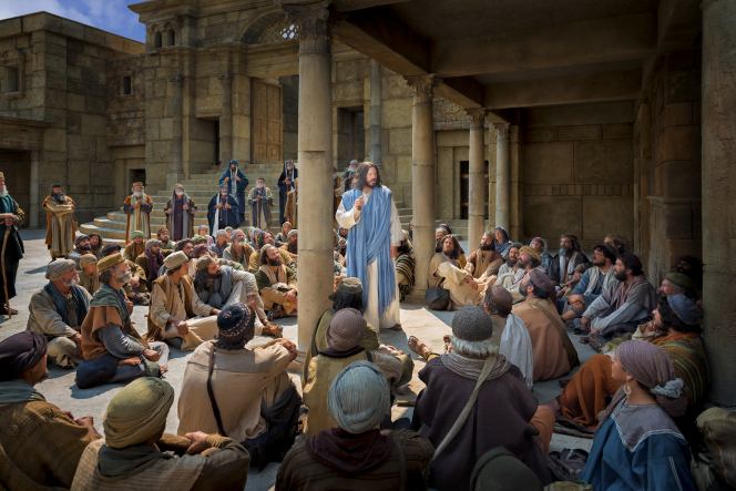 Christ standing in the middle of a large crowd, teaching them.