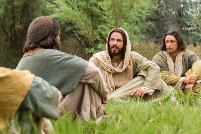 Matthew 16:13–19, Jesus sits and teaches to His disciples