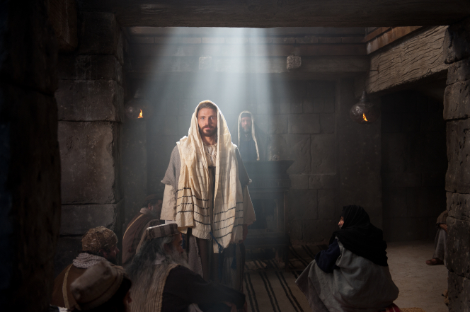 Luke 4:15–20, Jesus standing in the synagogue