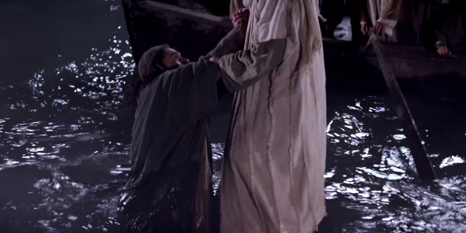 Matthew 14:25–33, Peter begins to fall on the water as he walks out to Jesus