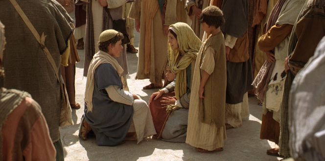 Luke 2:40–52, Young Jesus approaches His mother, Mary, and speaks to her