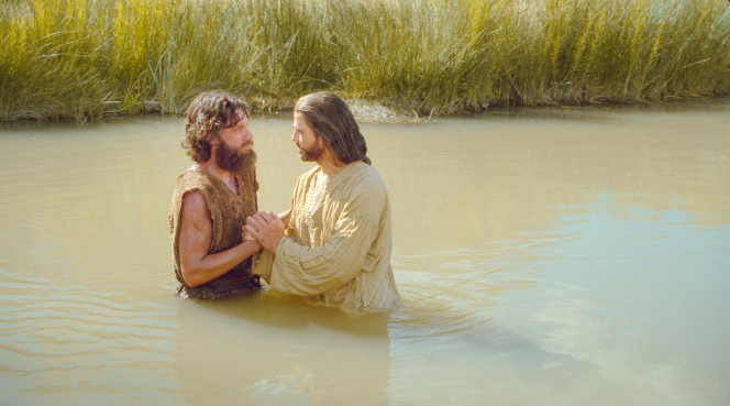 Matthew 3:13–17, John the Baptist speaks with Jesus