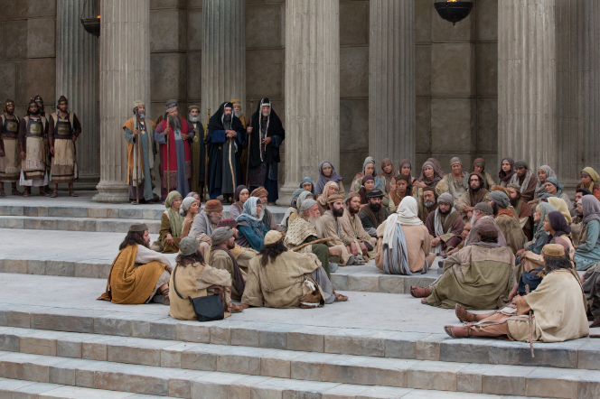 John 10:1–18, Jesus teaching on the steps of the temple