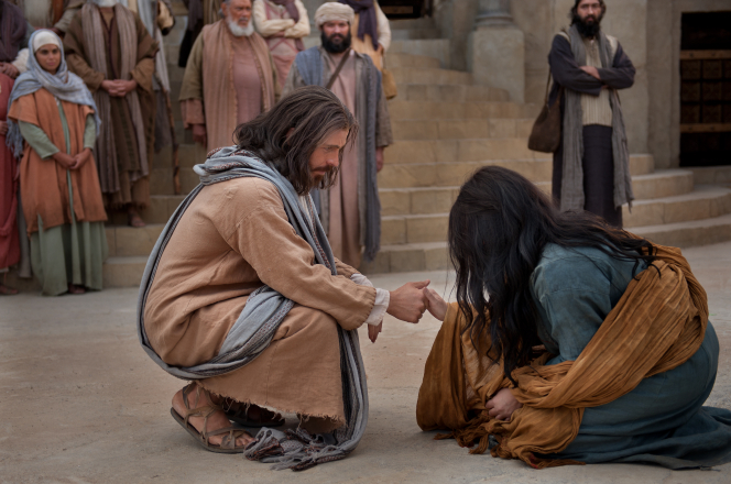 John 8:2–12, Jesus helps the woman accused of adultery