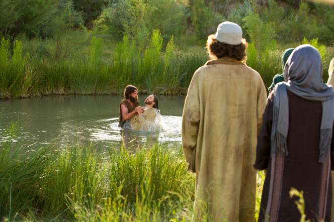 Matthew 3:13–17, Jesus comes out of the water after baptism