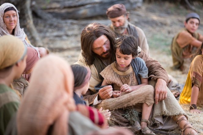 Luke 18:15–17, Jesus sits with a little child