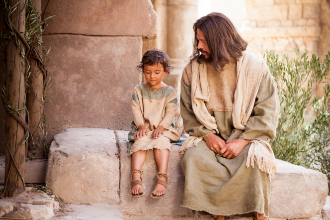 Matthew 18:1–11, Christ sits with a young child