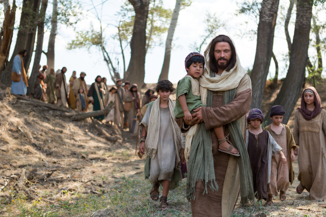 Luke 18:15–17, Christ leading a group of children and their parents