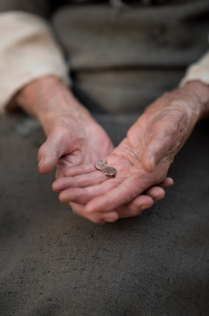 Mark 12:41–44, A widow holds two mites in her hand