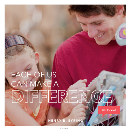 "An image of a father and daughter fixing a bicycle, coupled with a quote by President Henry B. Eyring: ""Each of us can make a difference."""
