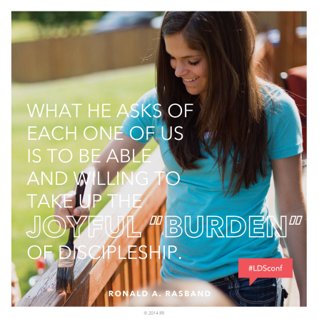 "An image of a young woman painting, coupled with a quote by Elder Ronald A. Rasband: ""He asks … us … to be … willing to take up the joyful 'burden' of discipleship."""