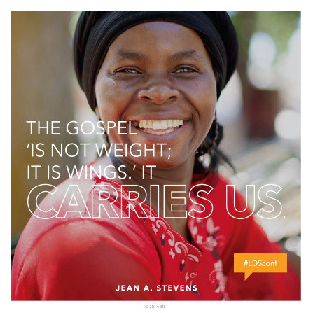 "A photograph of a woman smiling, paired with a quote by Sister Jean A. Stevens: ""The gospel 'is not weight.'"""