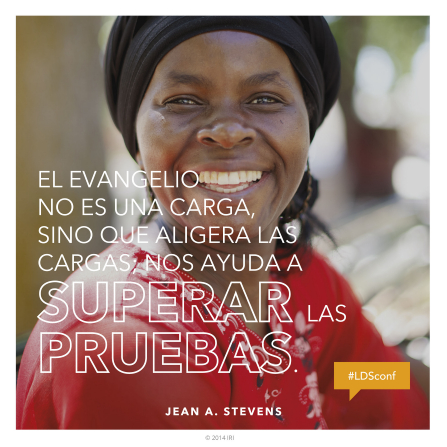 "A photograph of a woman smiling, paired with a quote by Jean A. Stevens, ""The gospel is not weight."""