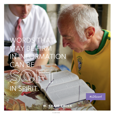 "An image of a man reading the scriptures, paired with a quote by Elder W. Craig Zwick: ""Words … can be soft in spirit."""
