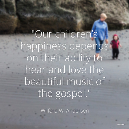 """An image of a woman and a child on a beach with a quote by Elder Wilford W. Andersen: """"Children's happiness depends on their ability to hear … the … music of the gospel."""""""
