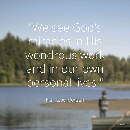 "An image of a young boy in a fishing boat, with a text overlay quoting Elder Neil L. Andersen: ""We see God's miracles in His wondrous work."""