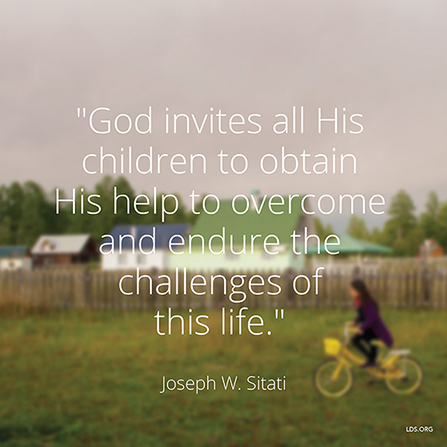 "An image of a girl riding a bicycle, combined with a quote by Elder Joseph W. Sitati: ""God invites all His children to obtain His help."""