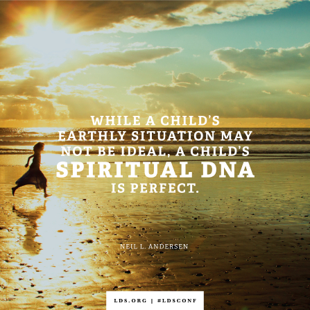 """An image of a child on the beach combined with a quote by Elder Andersen: """"A child's spiritual DNA is perfect."""""""