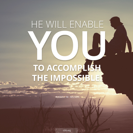 "An image of a hiker sitting on a ledge, with the words ""He will enable you to accomplish the impossible."""