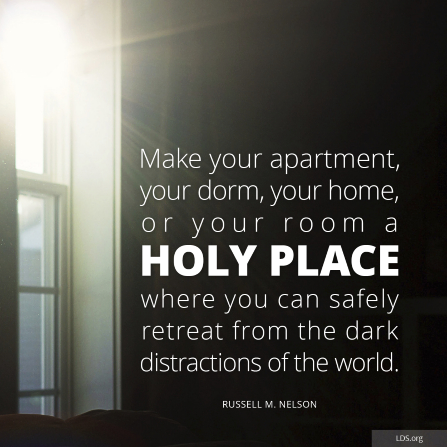 """An image of sunlight coming through a window, with a quote from President Russell M. Nelson: """"Make … your room a holy place."""""""