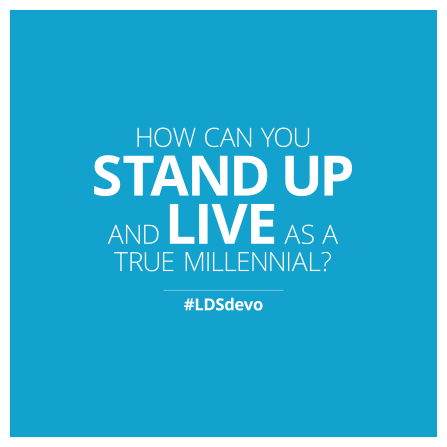 "A plain blue graphic with the words ""How can you stand up and live as a true millennial?"""