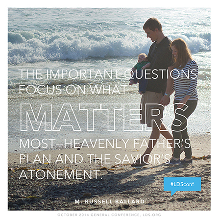 "An image of a family walking along the beach, coupled with a quote by Elder M. Russell Ballard: ""The important questions focus on what matters most."""