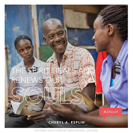 "An image of missionaries talking with a man, combined with a quote by Sister Cheryl A. Esplin: ""The Spirit heals and renews our souls."""